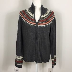 Columbia Grey Zip Up Sweater with Pattern